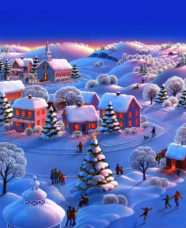 Открытка сказочная зима
